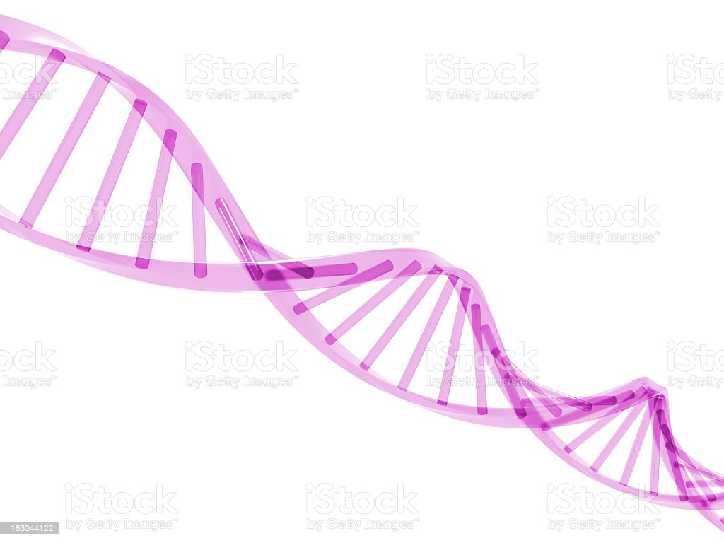 A 3D drawing of a purple DNA strand stock photo