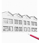 Drawing of a row of townhouse facades