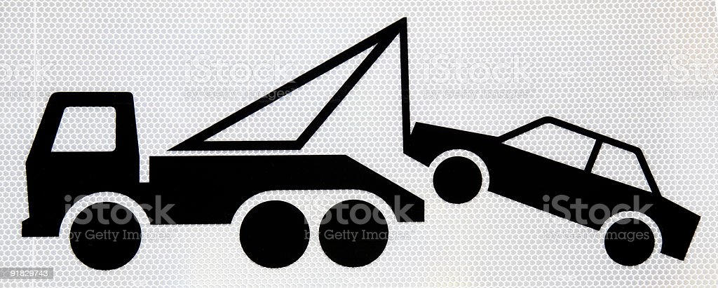 A drawing of a tow truck towing a car stock photo