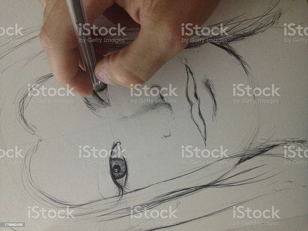 Drawing of A Woman Face royalty-free stock photo