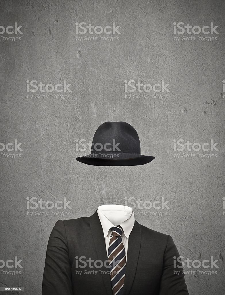 Drawing of an invisible man wearing a suit and hat stock photo