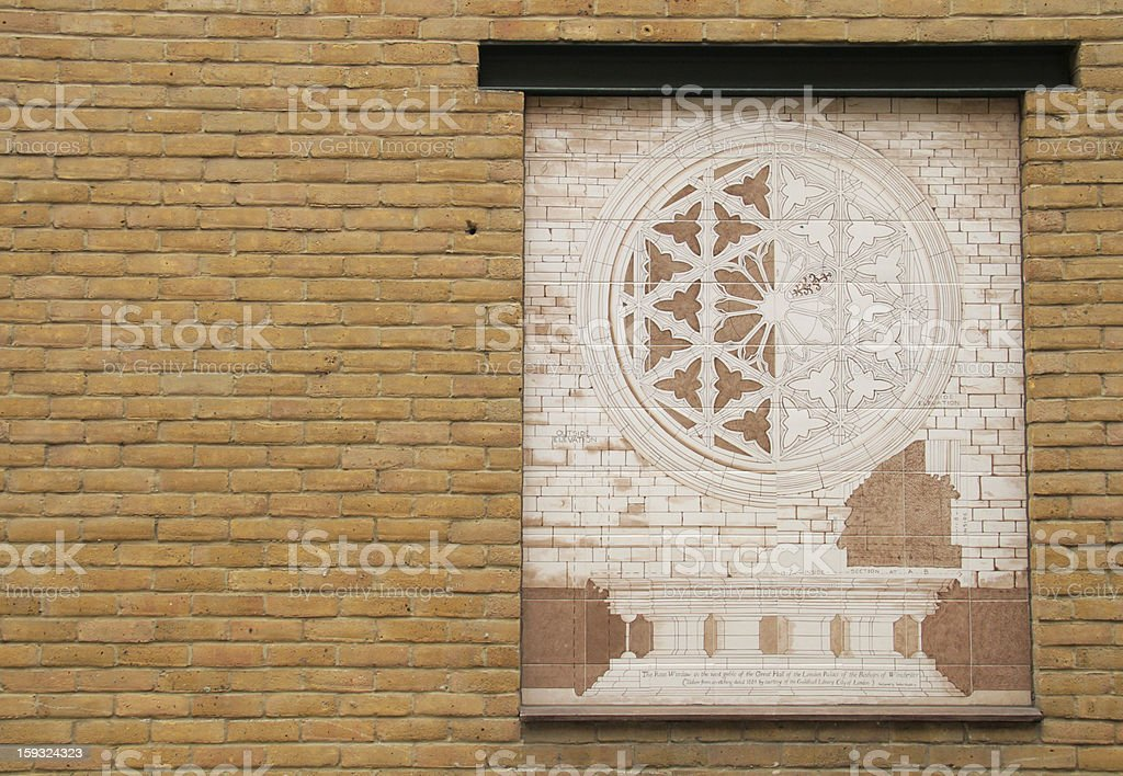 Drawing of Cathedral in Brick Wall stock photo