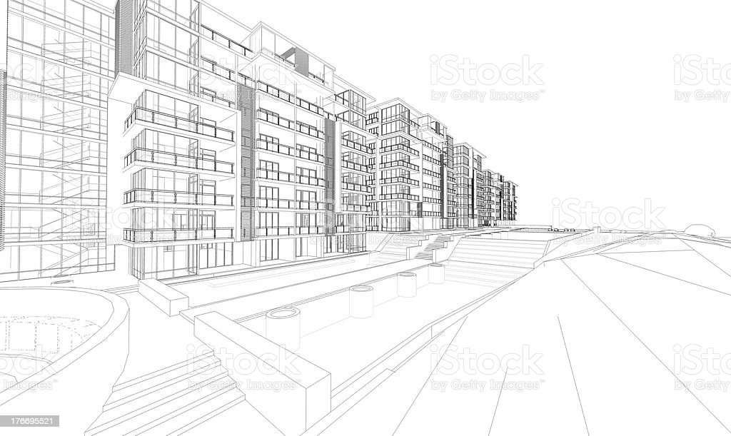 Drawing of city plan for architecture purpose stock photo