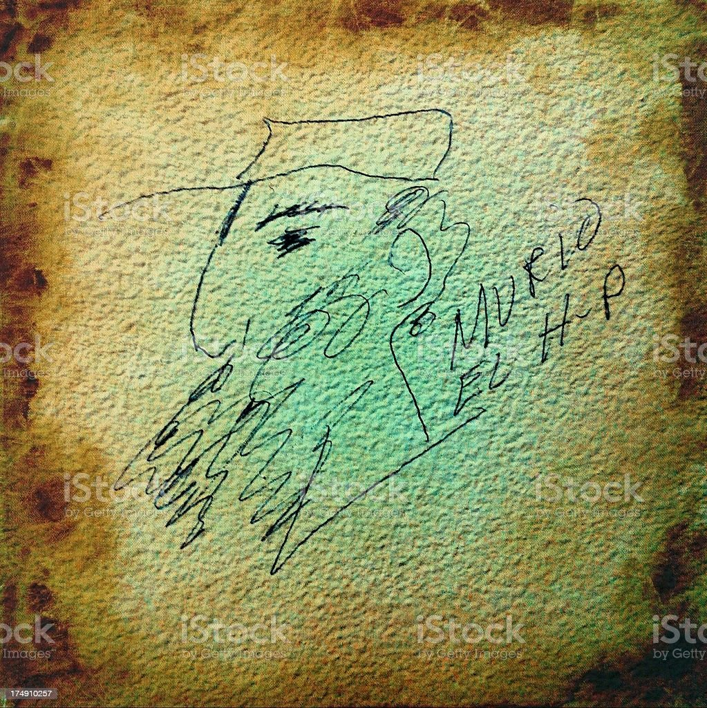 Drawing of Cuban Dictator Fidel Castro on a dirty wall. stock photo