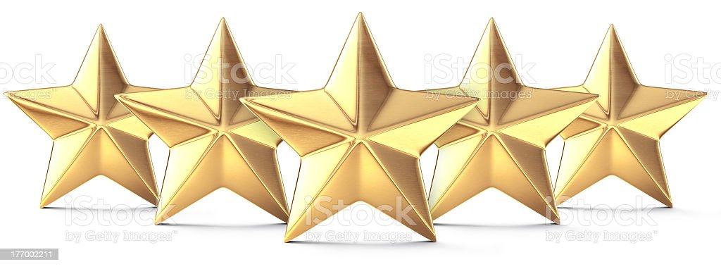 Drawing of five gold stars standing side-by-side stock photo
