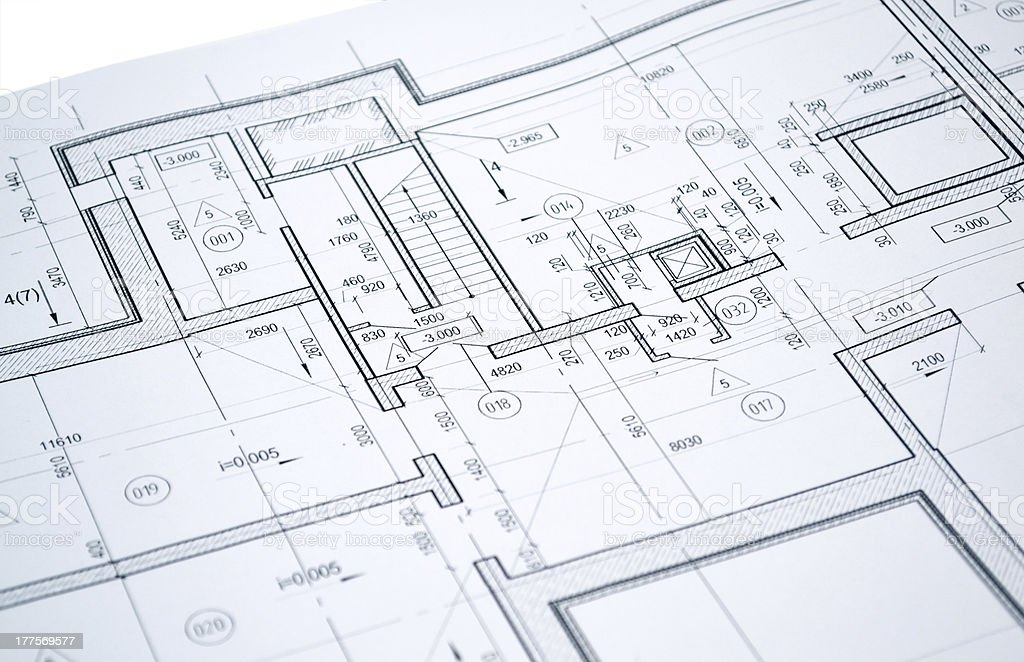 Drawing of the floor plan royalty-free stock photo