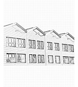 Drawing of townhouse facades
