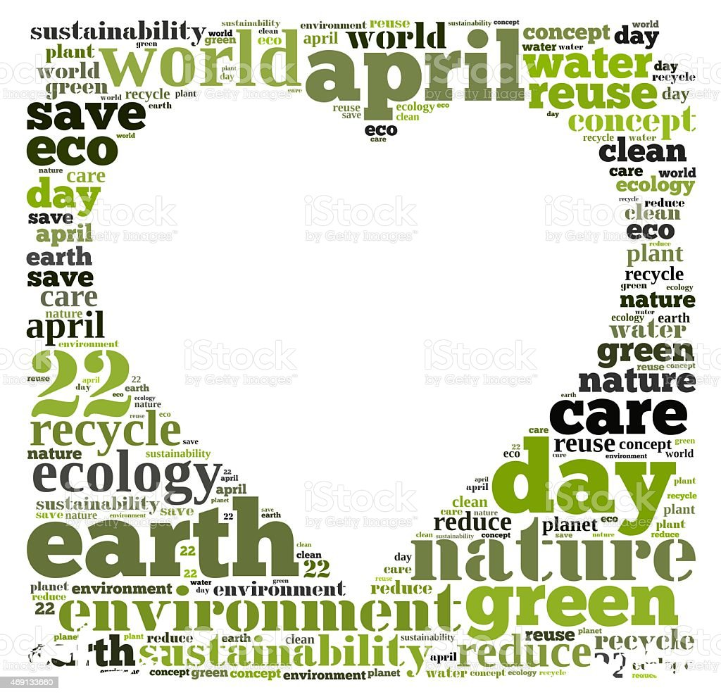 Drawing of words surrounding a heart supporting enviroment stock photo