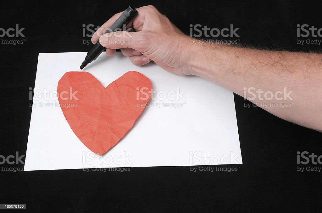 Drawing on a White Paper stock photo