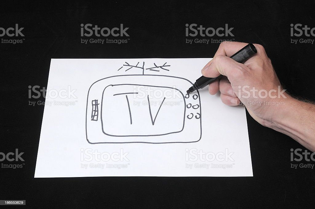 Drawing on a White Paper royalty-free stock photo