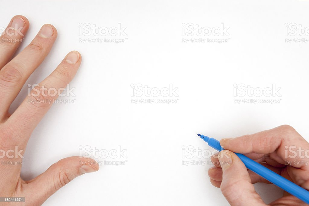 Drawing on a White Sheet stock photo