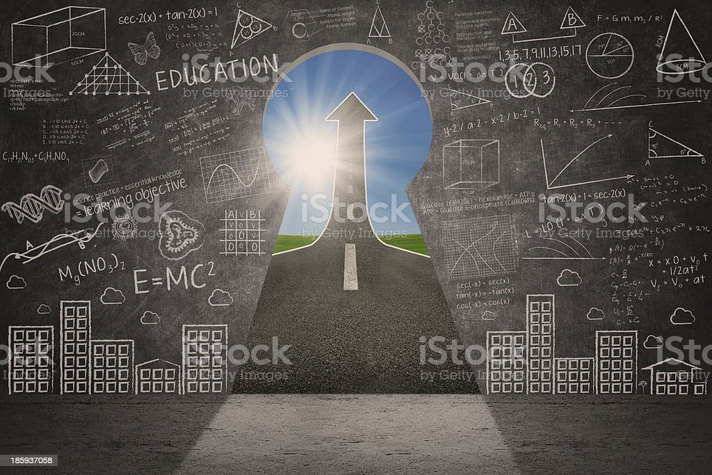 Drawing on chalkboard with key hole and up arrow sign royalty-free stock photo