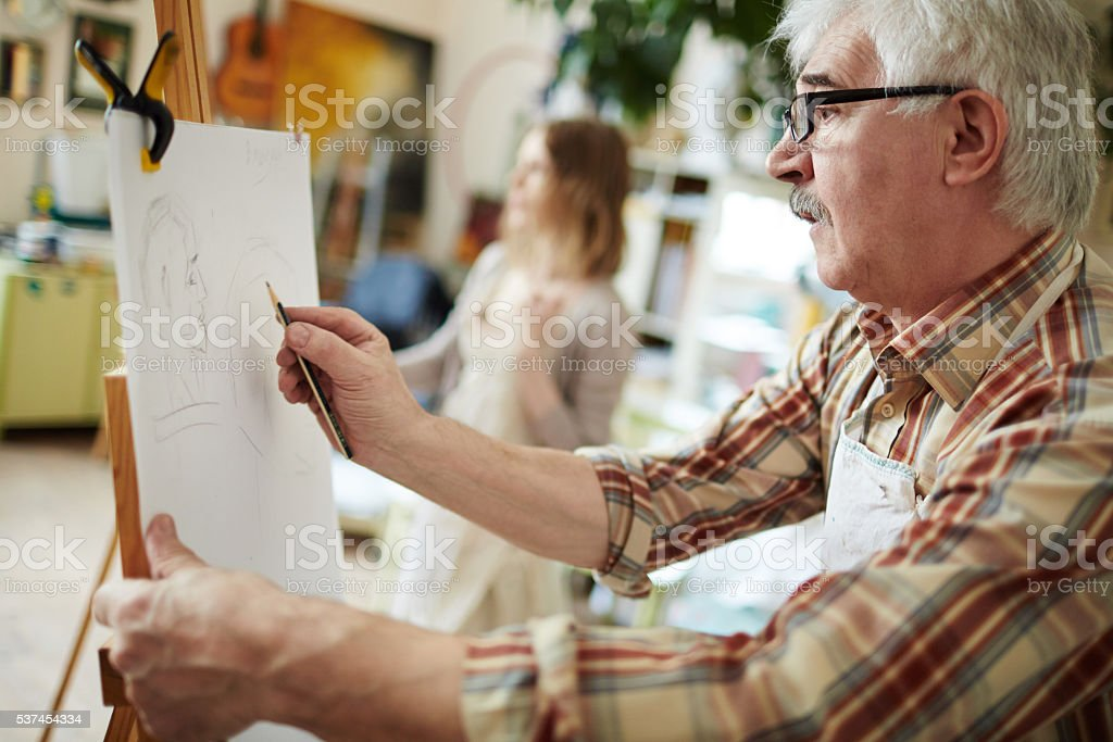 Drawing on easel stock photo