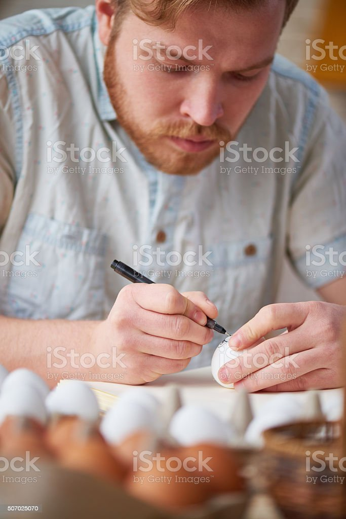 Drawing on egg stock photo