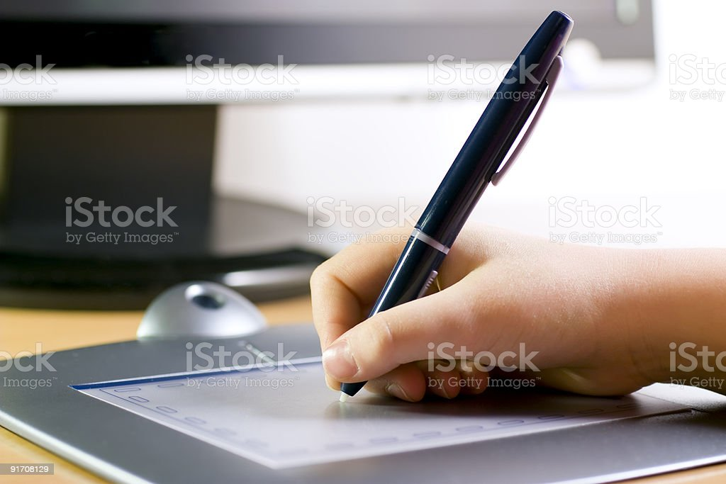 Drawing on graphic tablet stock photo