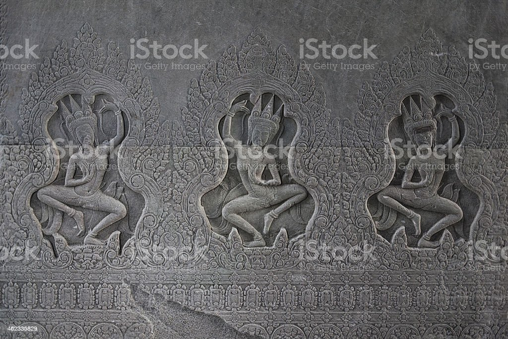 Drawing on wall, Cambodia stock photo