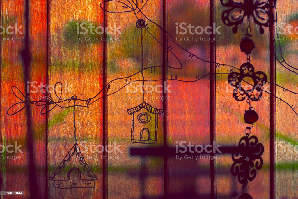 Drawing on wooden wall royalty-free stock photo