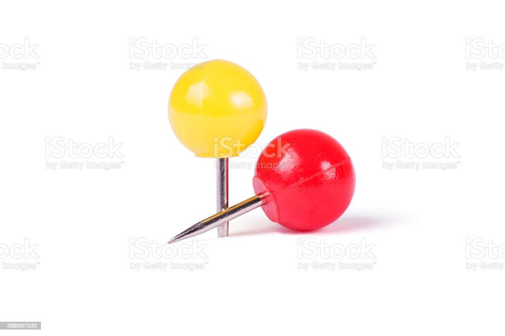 Drawing pins ball in different colors stock photo