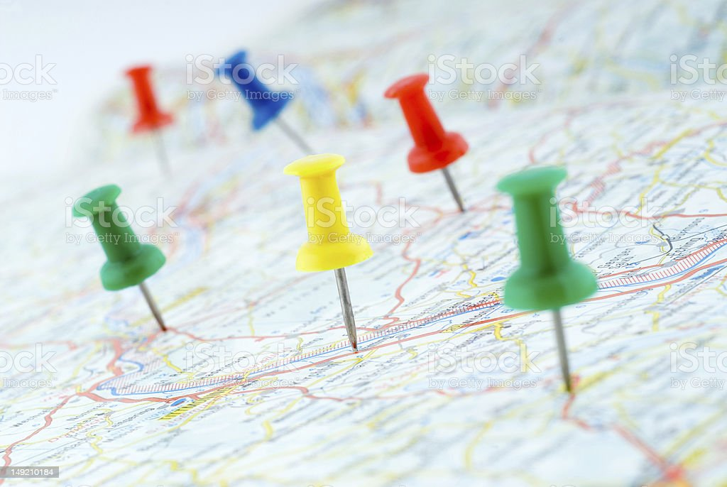 Drawing pins marking the route royalty-free stock photo