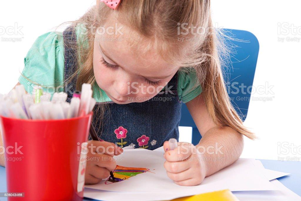 Drawing Preschool Girl stock photo