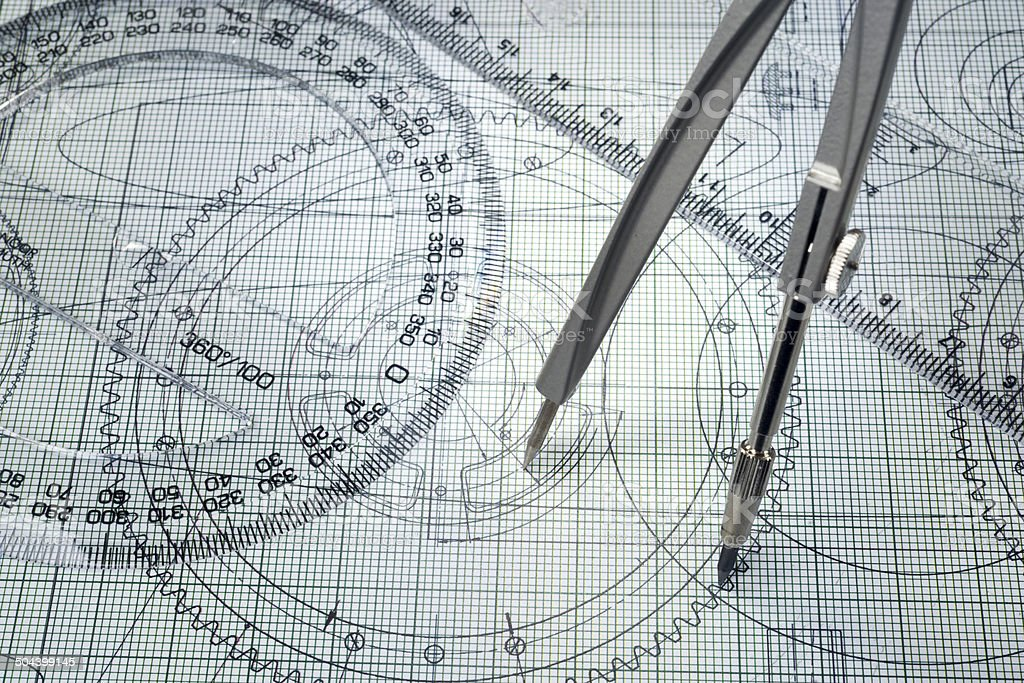 drawing, protractor and compasses stock photo