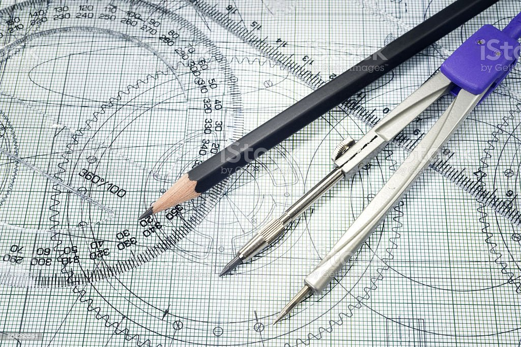 drawing, protractor, pencil and compasses royalty-free stock photo