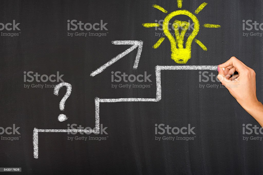 Drawing Question and Great Idea stock photo