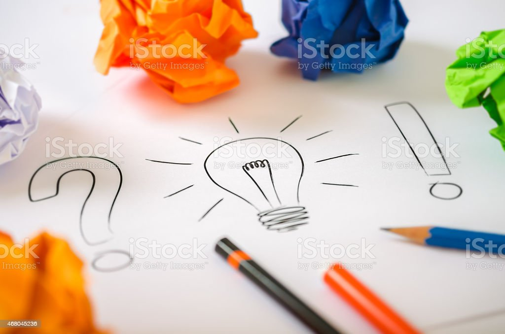 Drawing representing getting a good idea stock photo