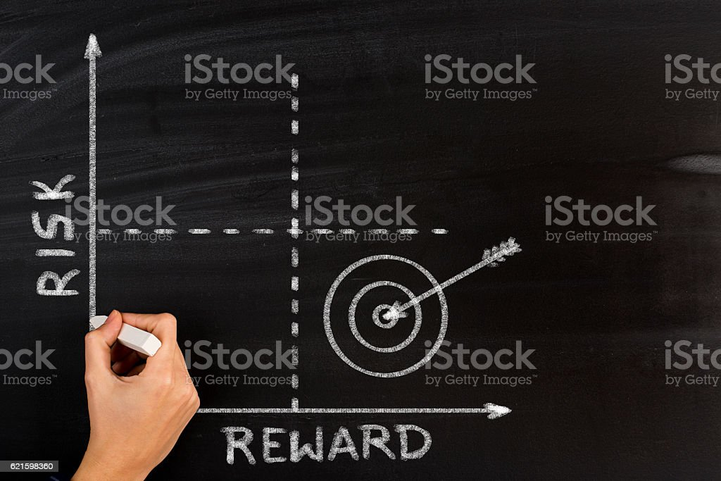 Drawing Risk Reward graph with chalk on blackboard stock photo