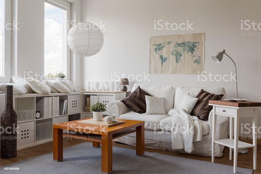 Drawing room in white stock photo