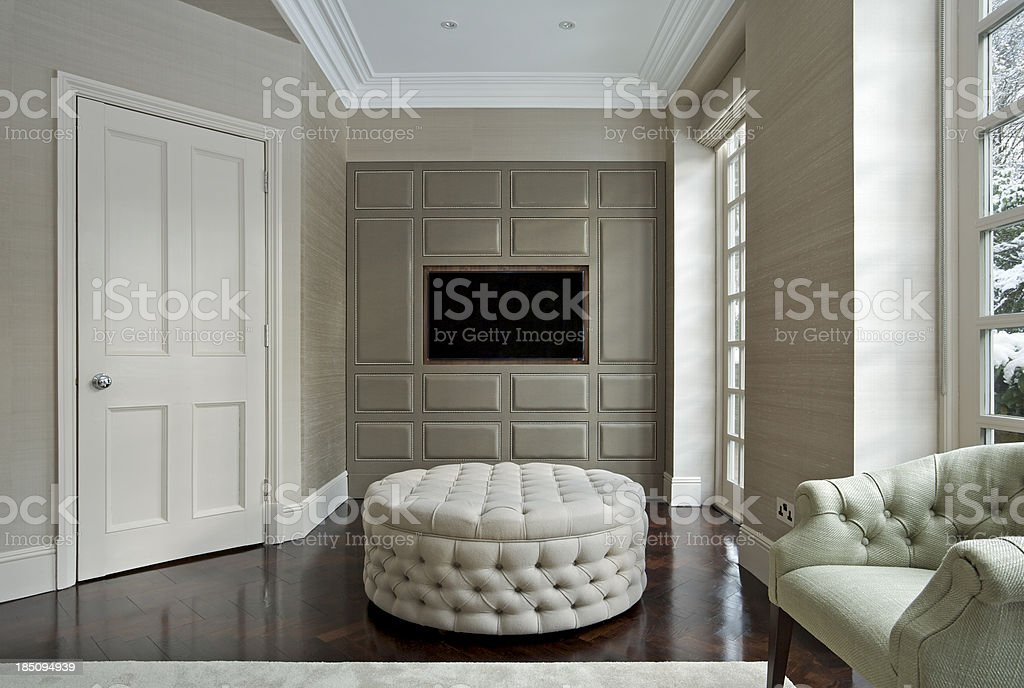 drawing room with TV watching area stock photo
