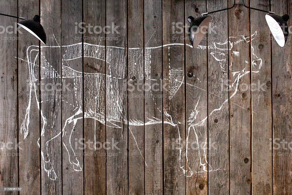 Drawing schemes of a cow stock photo