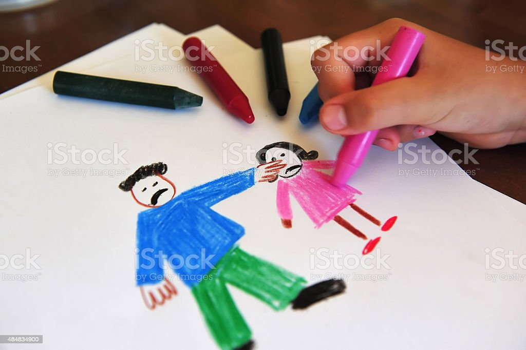 Drawing shows young girls inner feelings about being abused stock photo