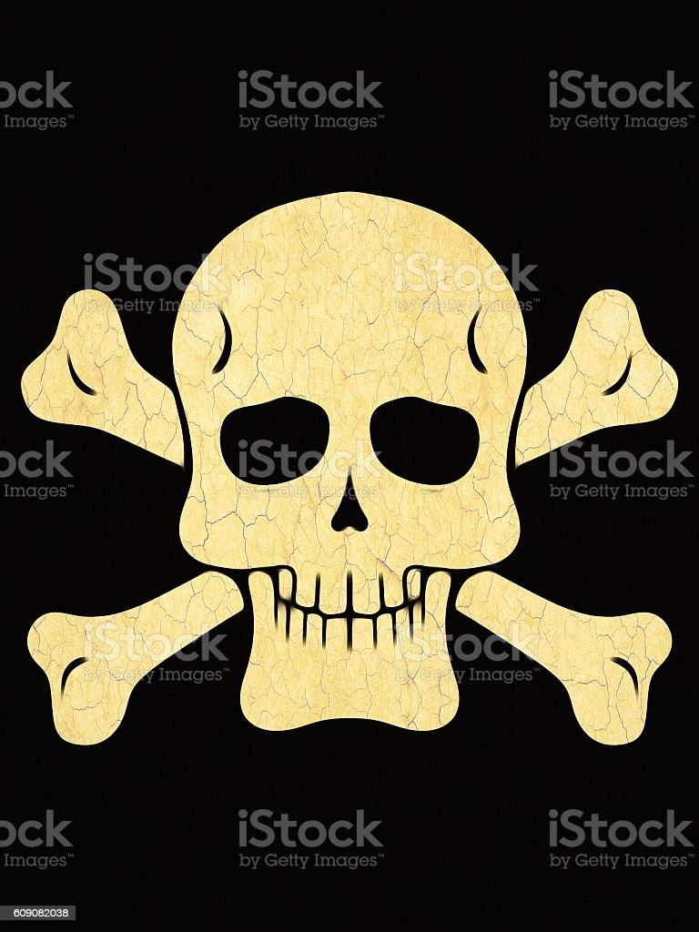 drawing skull with bones with black background stock photo