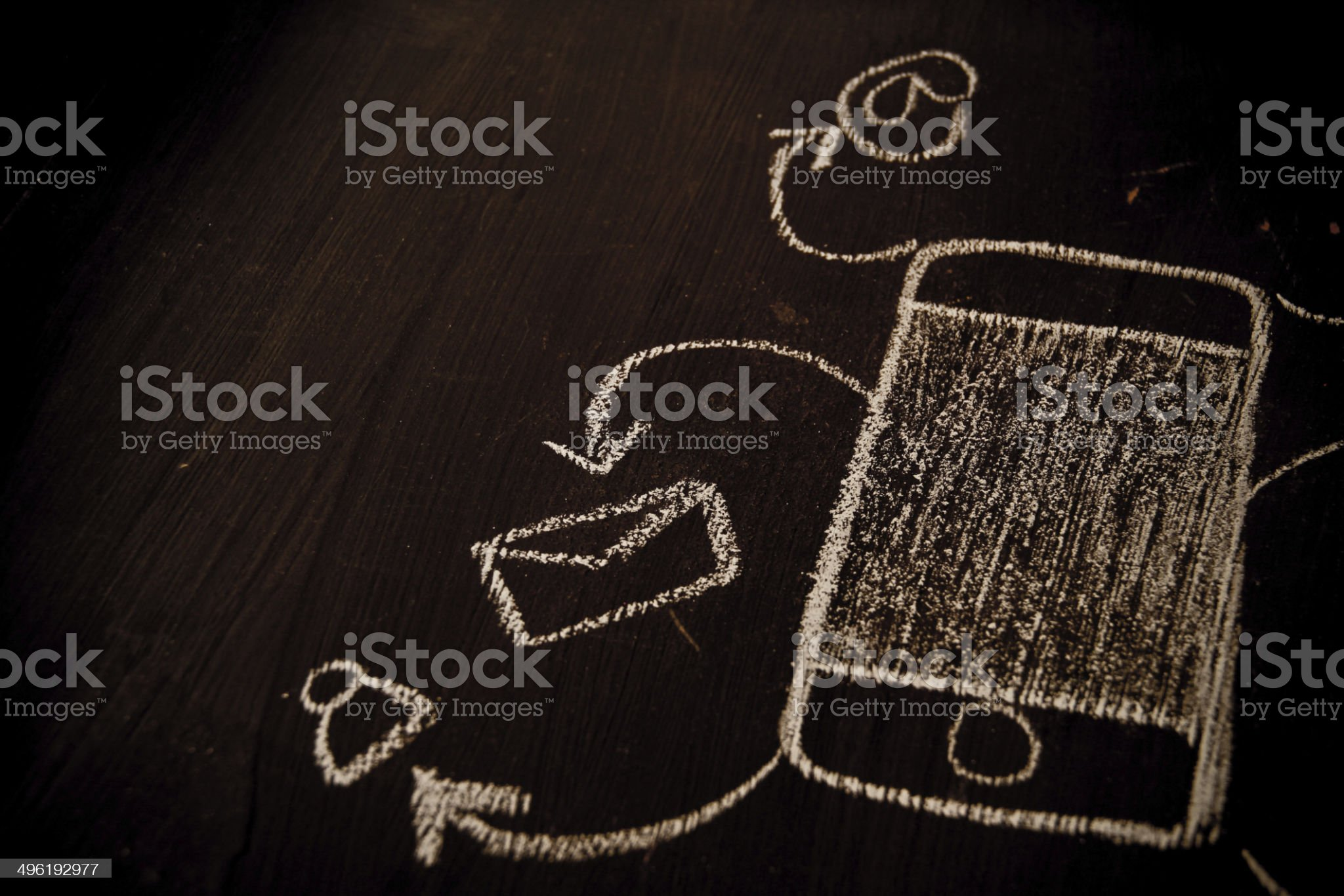 Drawing smart phone touchscreen with application icons royalty-free stock photo