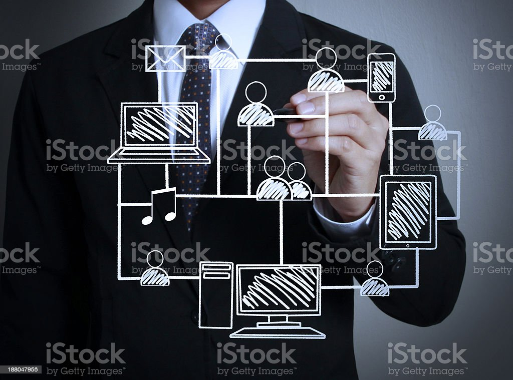 drawing social network structure stock photo