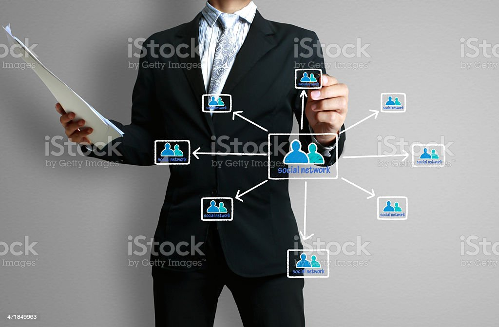 drawing social network structure royalty-free stock photo