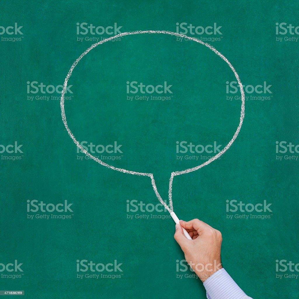 Drawing speech bubble on blackboard royalty-free stock photo