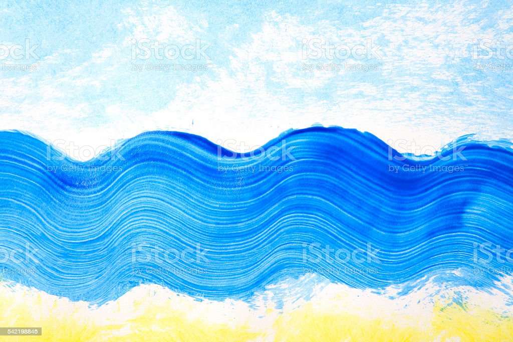 Drawing summer vacations (blue and yellow paints) stock photo