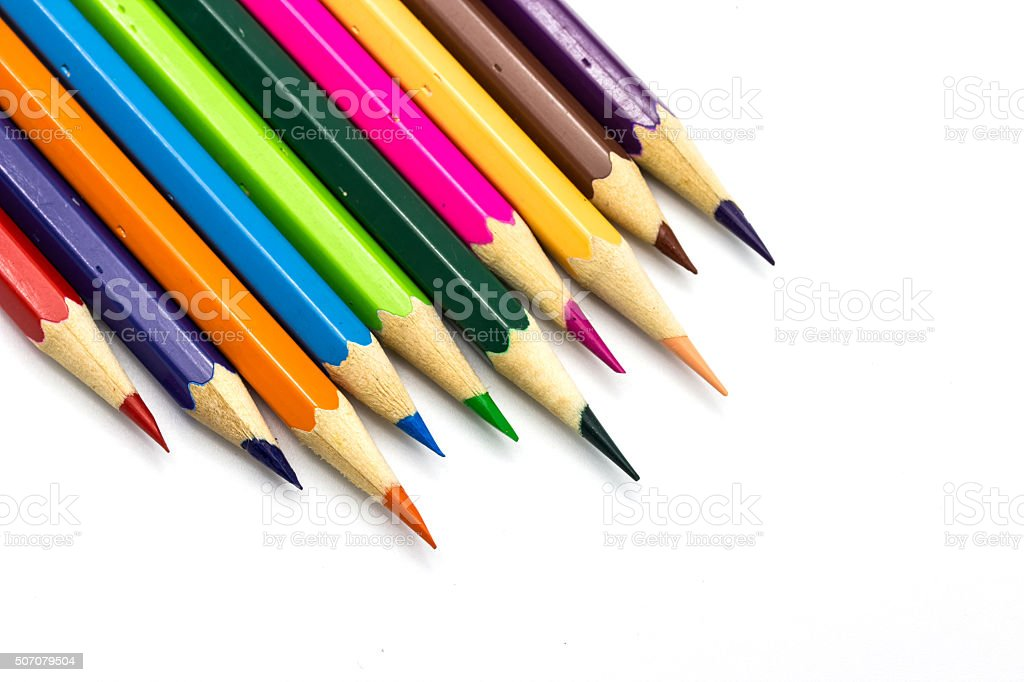 Drawing supplies: assorted color pencils, isolated on white back stock photo