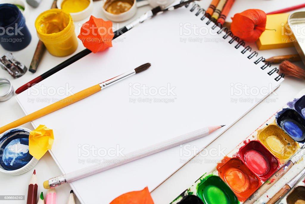 Drawing supplies close-up, mockup stock photo