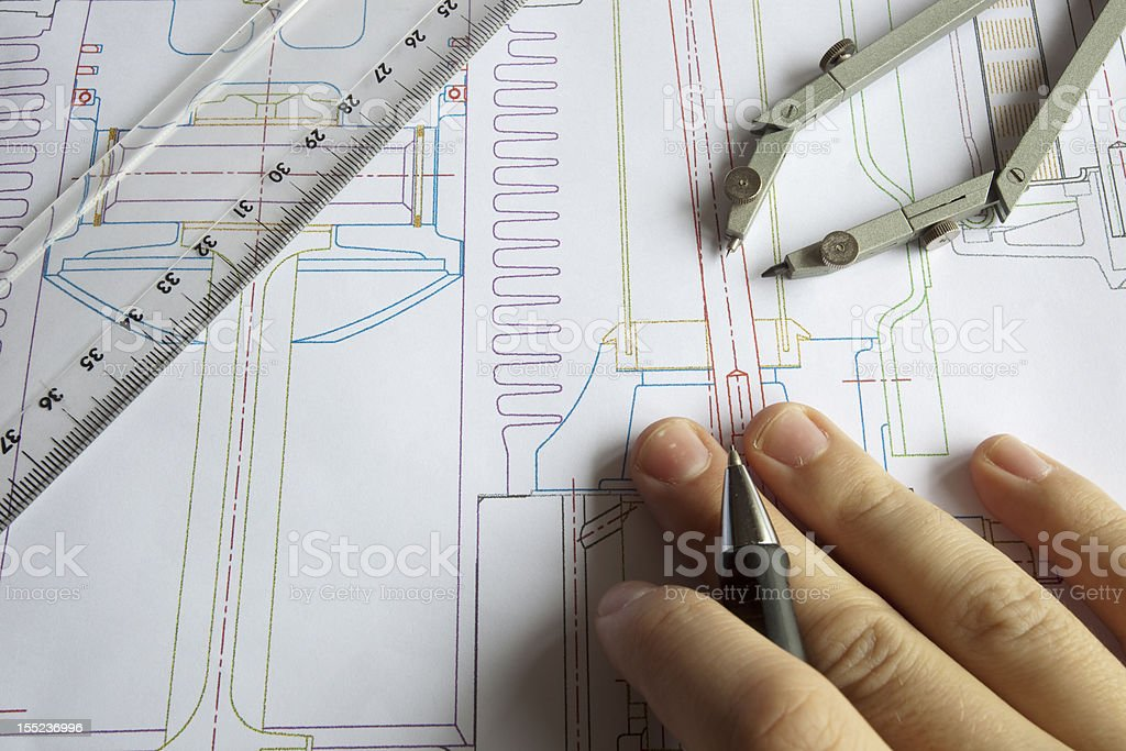 Drawing Technical Paper royalty-free stock photo