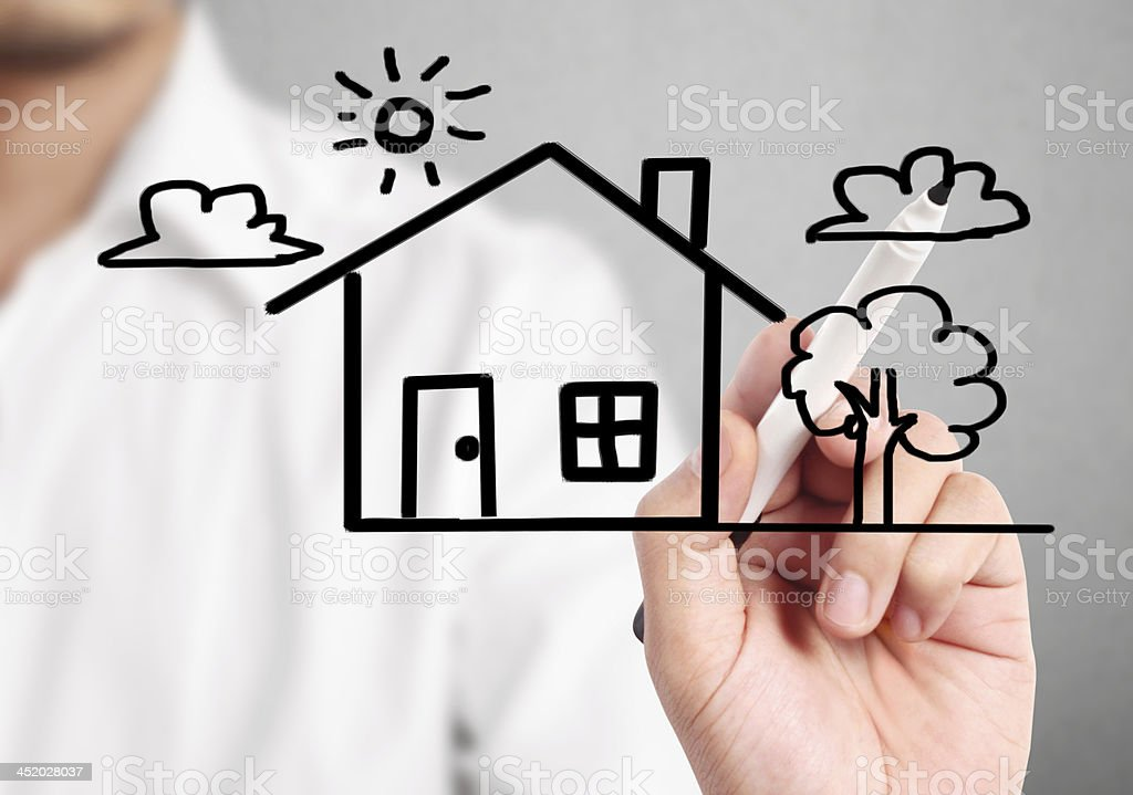 drawing the house stock photo