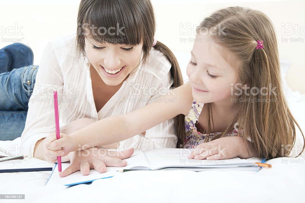 Drawing together. royalty-free stock photo