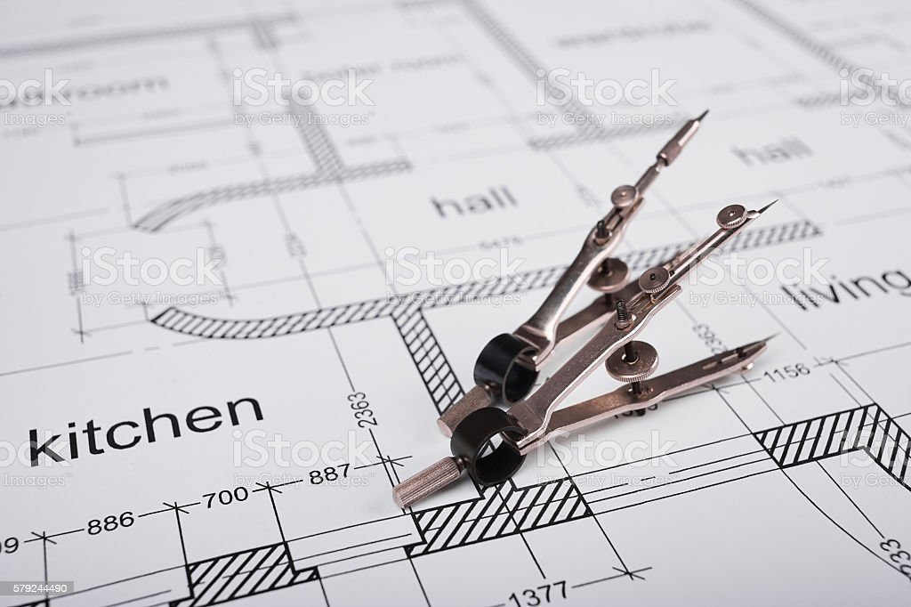 Drawing tools and building plan stock photo