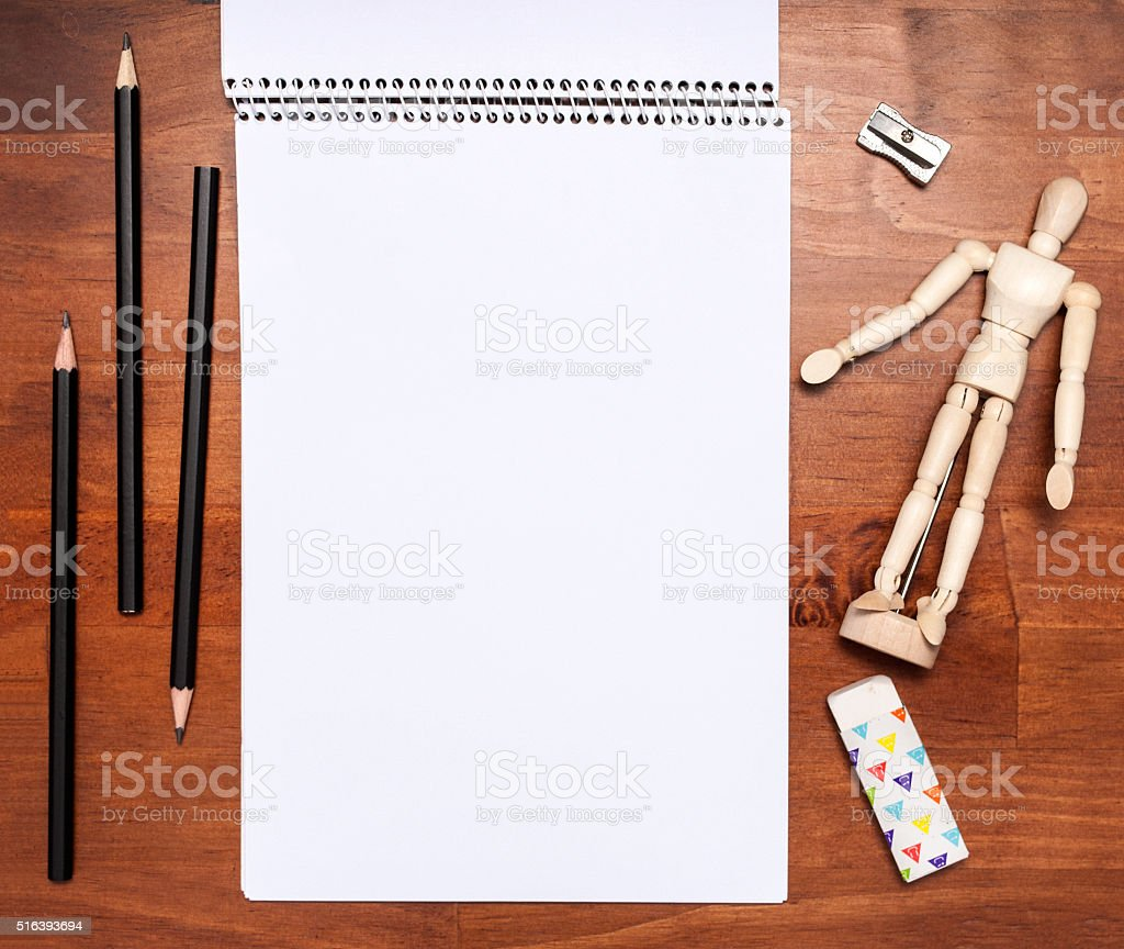 Drawing tools, top view stock photo