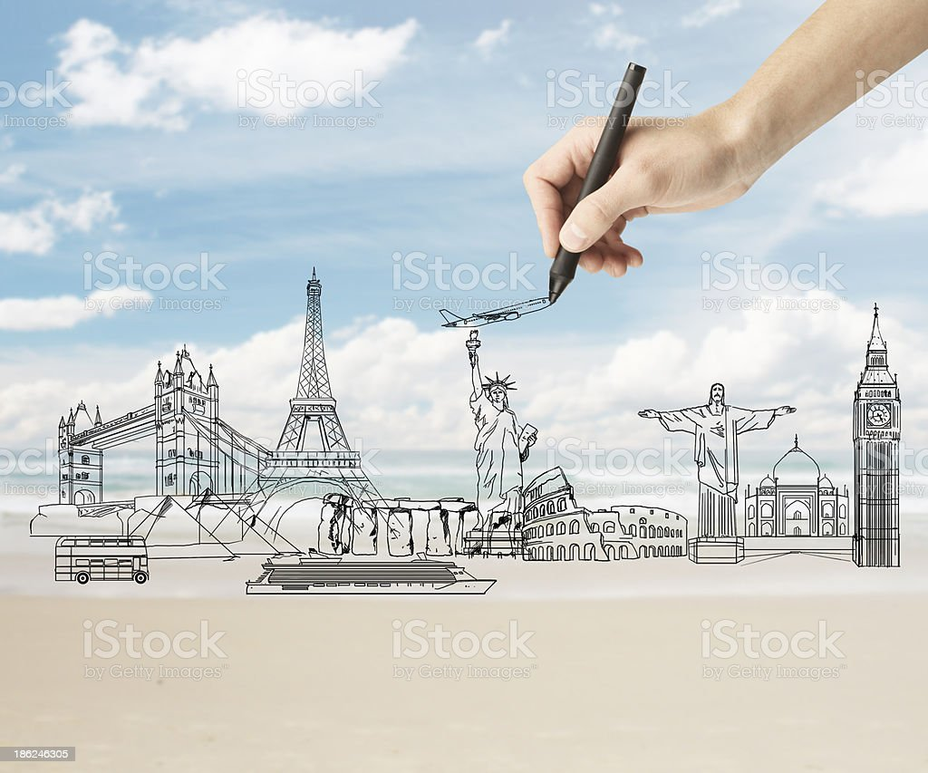 drawing traveling concept royalty-free stock photo
