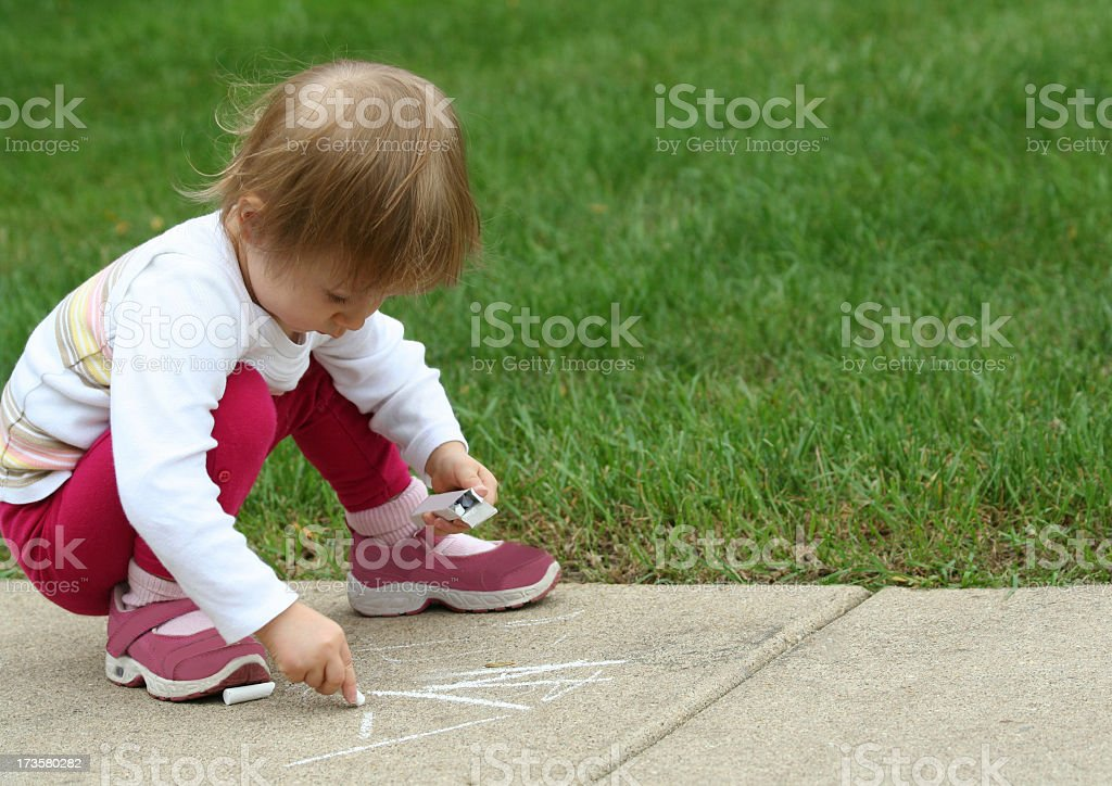 drawing with chalk royalty-free stock photo
