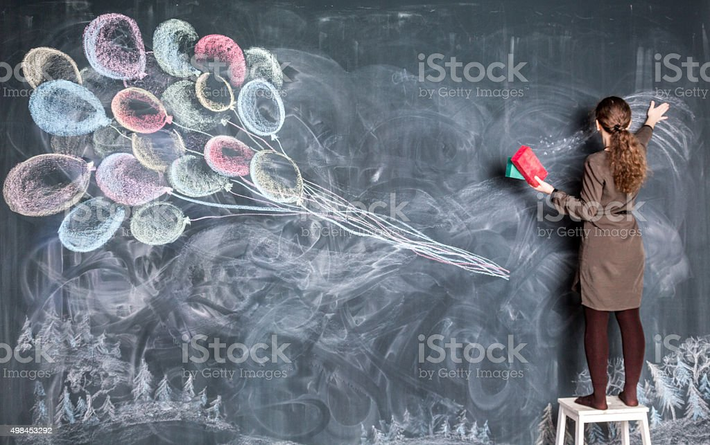 Drawing With Chalk stock photo