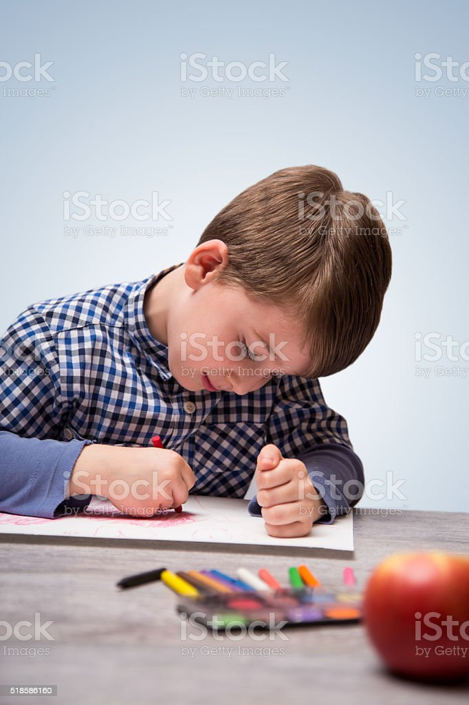 Drawing with crayons stock photo